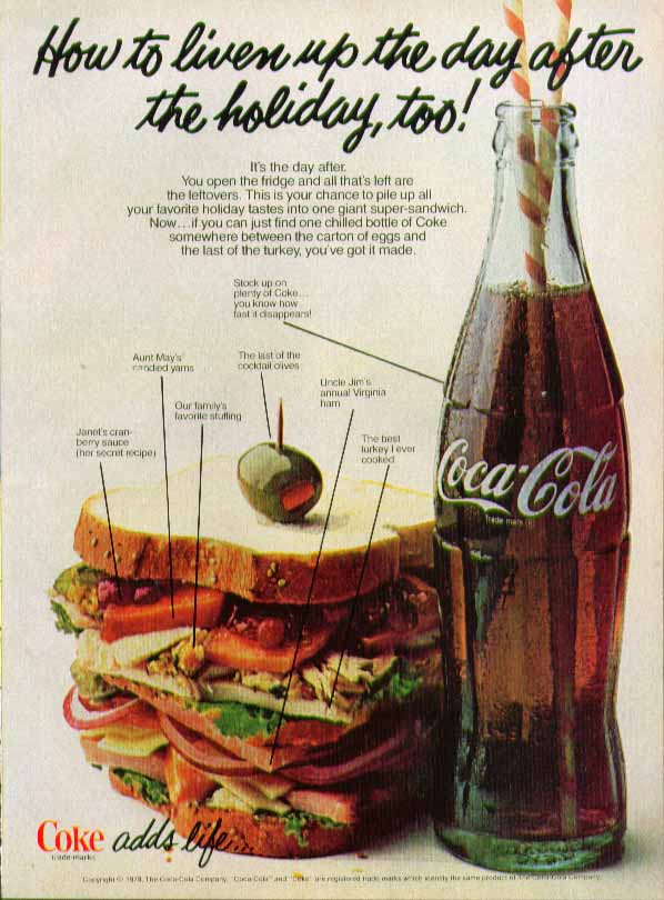 Image for How to liven up the day after the holiday, too! Coca-Cola ad fat sandwich
