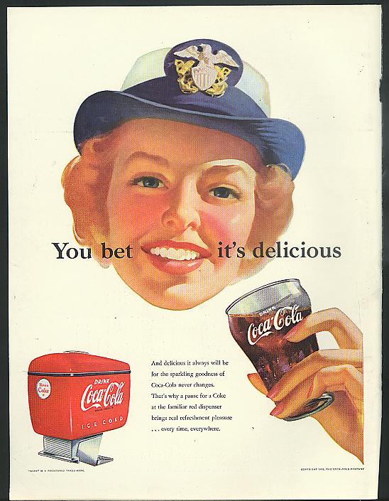 You bet it's delicious Coca-Cola ad 1952 WAVE in cap by Sundblom