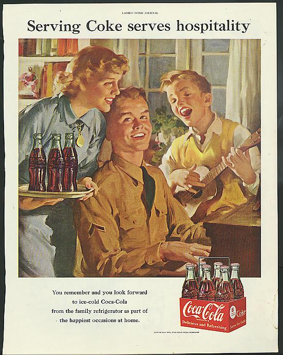 Serving Coke serves hospitality Coca-Cola ad 1951 PFC at piano ukulele Sundblom
