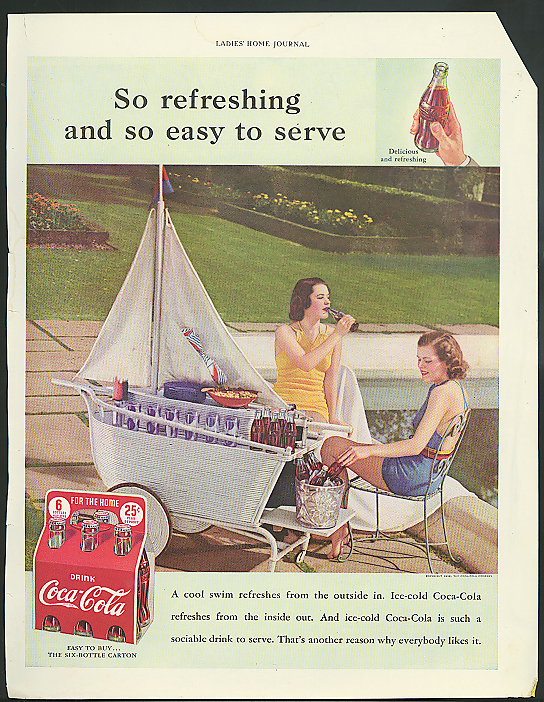 So refreshing & so easy to serve Coca-Cola ad 1938 poolside sailboat server