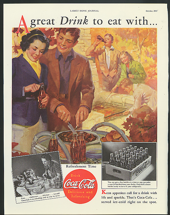 A great drink to eat with Coca-Cola ad 1937 youths cooking out by Sundblom