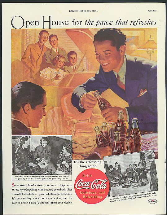 Open House for pause that refreshes Coca-Cola ad 1937 youths at piano Sundblom