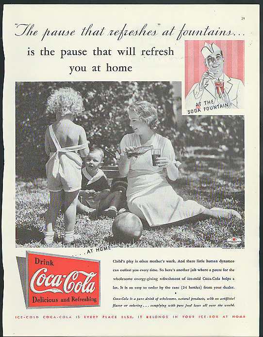 Pause that will refresh you at home Coca-Cola ad 1935 Mom with kids on lawn