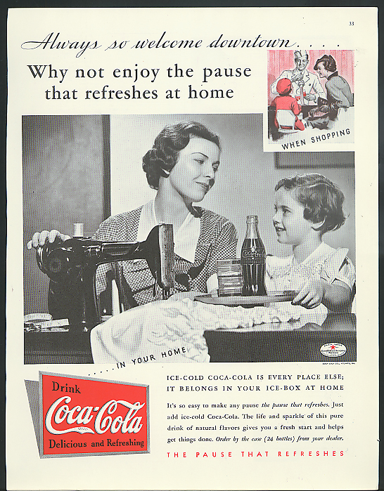 Enjoy the pause that refreshes at home Coca-Cola ad 1935 Mom & daughter sewing