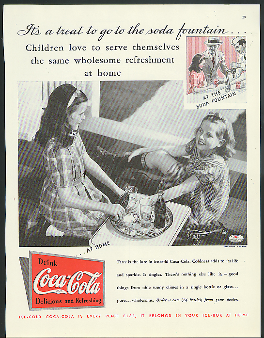 Children love refreshment at home Coca-Cola ad 1935 girls after rollerskating