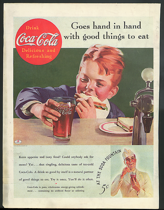 Hand in hand good things to eat Coca-Cola ad 1935 boy soda fountain Sundblom