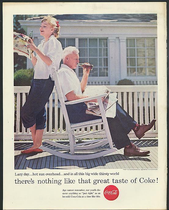 Lazy day hot sun overhead Coca-Cola ad 1956 Carol Lylney & Dad on porch