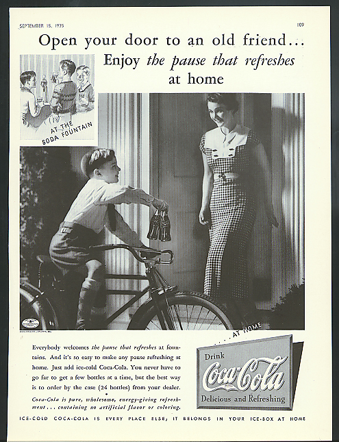 Open your door to an old friend Coca-Cola ad 1935 boy on bicycle delivers