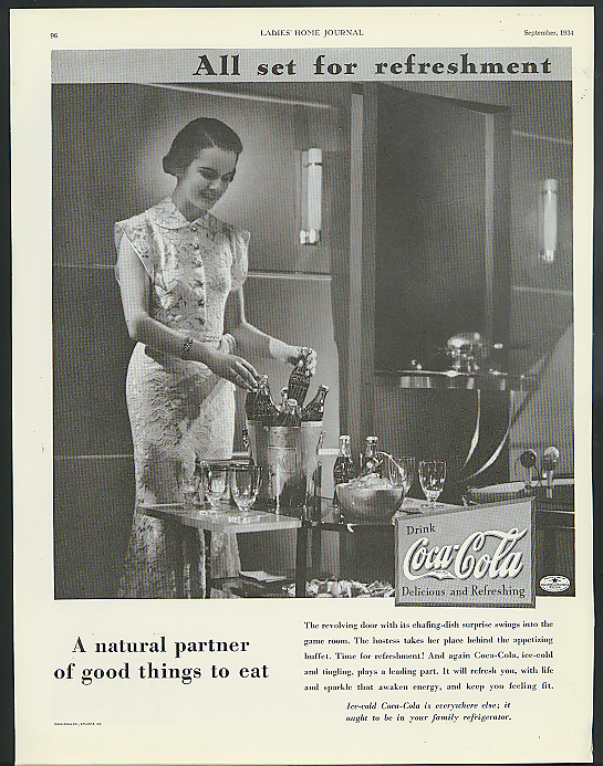 All set for refreshment Coca-Cola ad 1934 ready for the party iced Coke