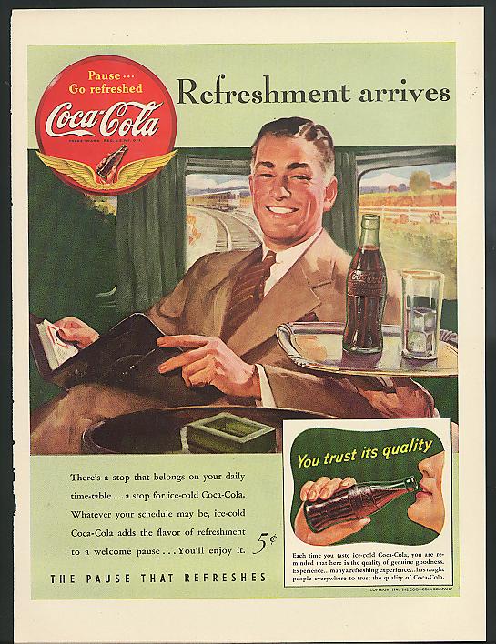Refreshment arrives Coca-Cola ad 1941 man on train by Sundblom