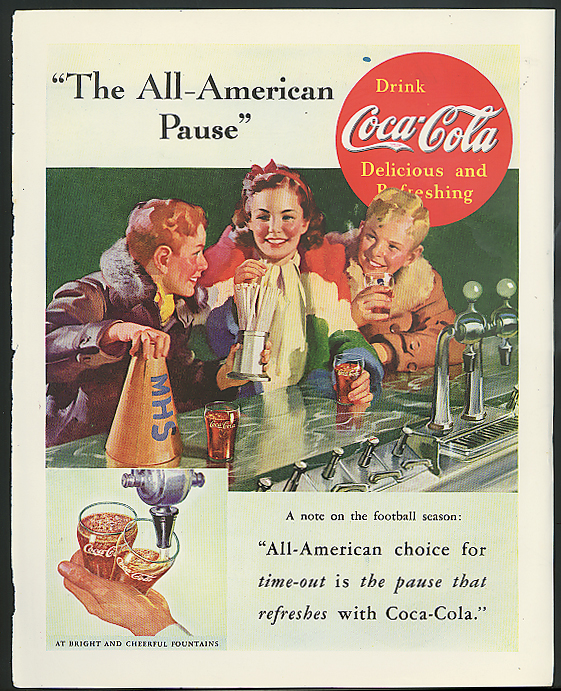 The All-American Pause Coca-Cola ad 1937 soda fountain after the game Sundblom