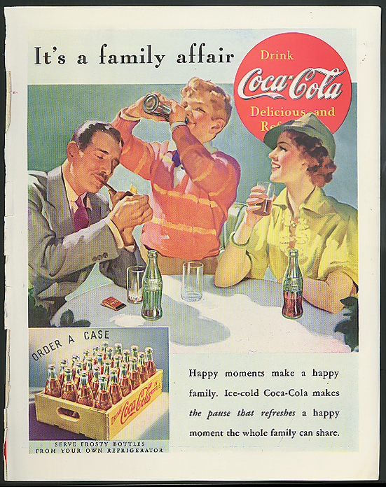 It's a family affair Coca-Cola ad 1937 Mom Dad Son drink by Sundblom