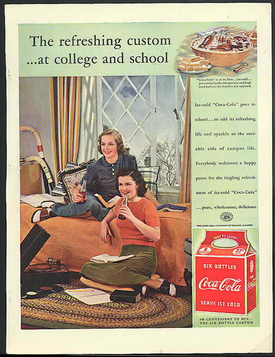 Refreshing custom at college & School Coca-Cola ad 1939 girls dorm room Canada