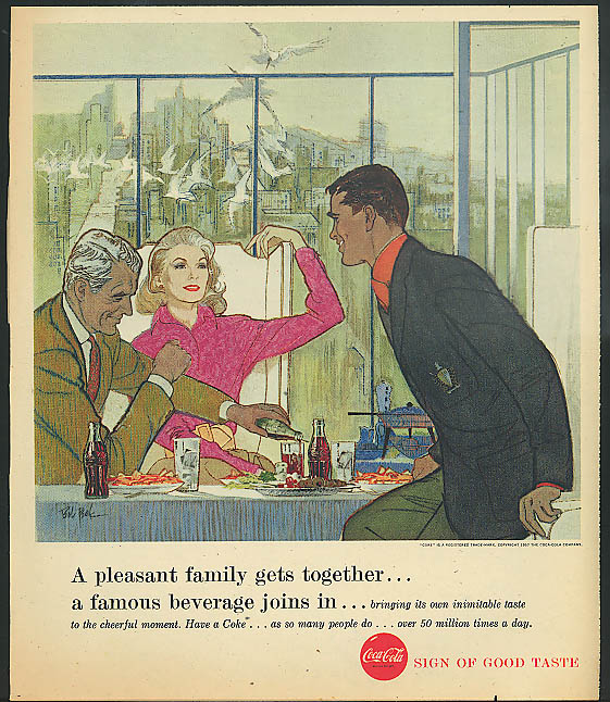 Pleasant family gets together a famous beverage joins in Coca-Cola ad 1957