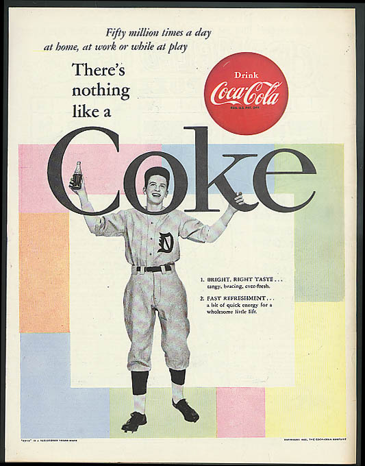 There's nothing like a Coca-Cola ad 1955 youth in baseball uniform