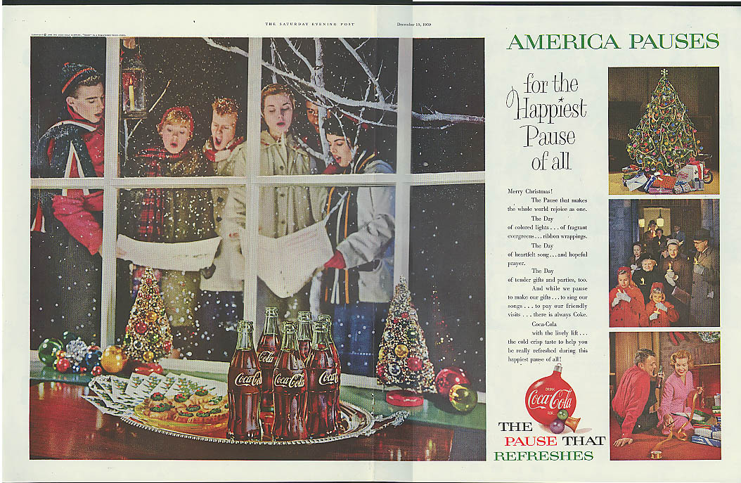 America pauses for the happiest of all Coca-Cola ad 1959 Christmas carolers