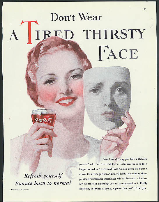 Don't wear a tired thirsty face Coca-Cola ad 1933 pretty girl holds mask