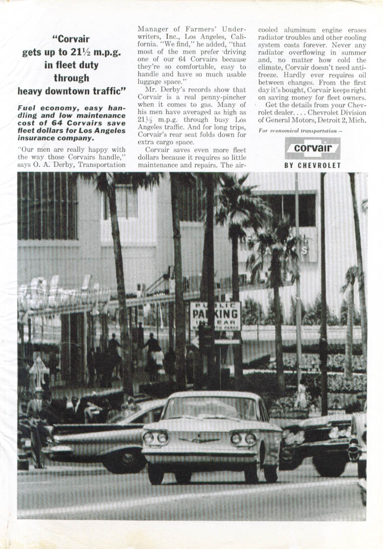 Gets up to 21 1/2 mpg in fleet use Corvair ad 1960