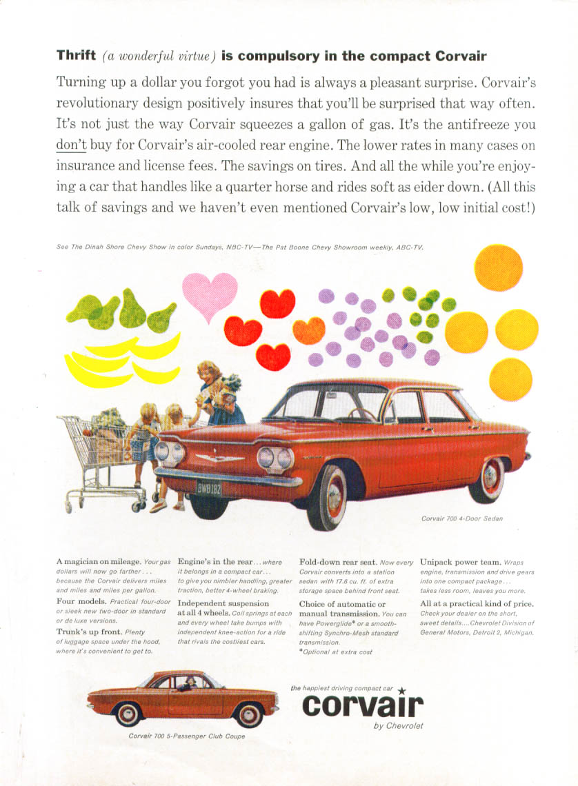 Image for Thrift is compulsory in the compact Corvair ad 1960