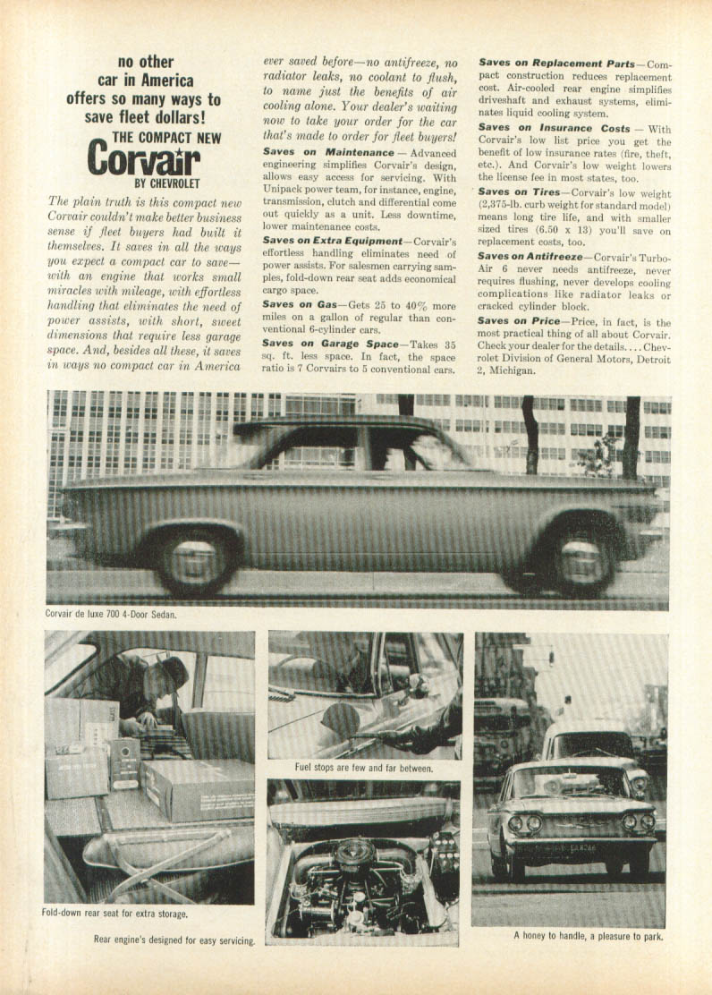 Many ways to save fleet dollars Corvair ad 1960