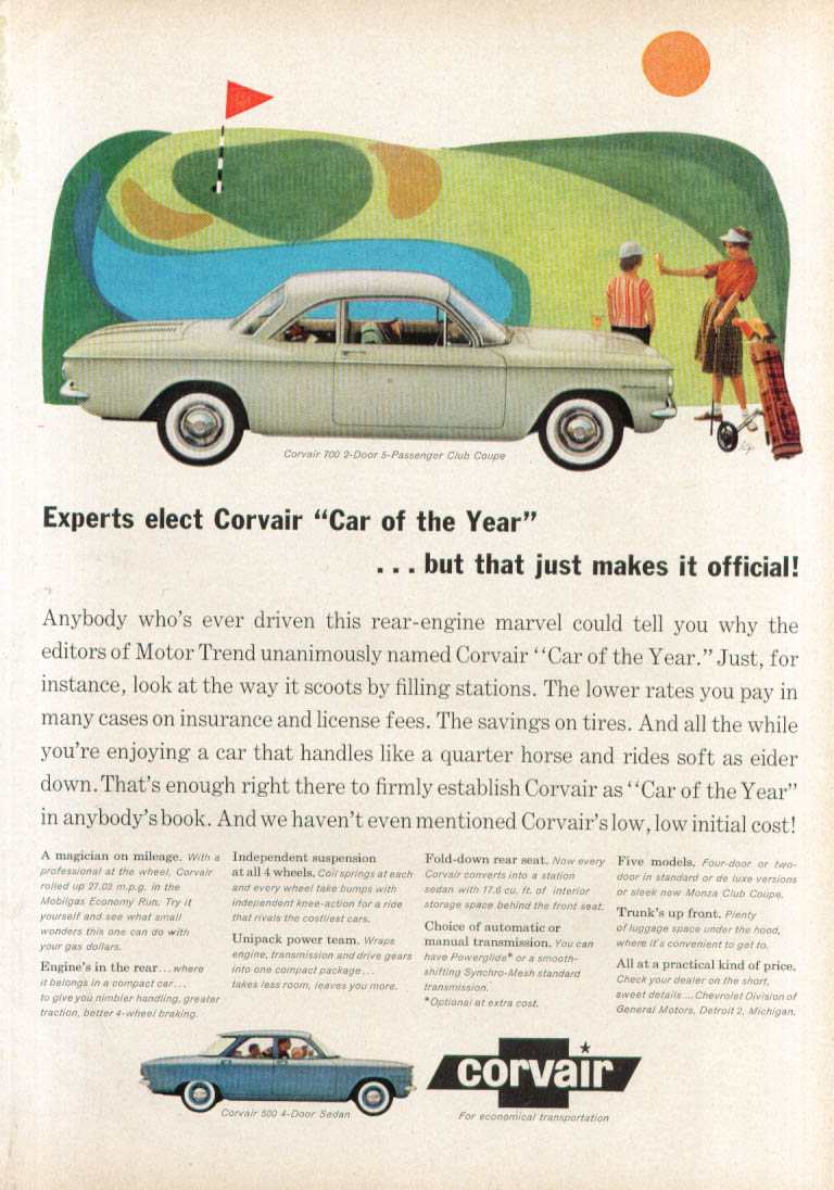 Experts elect Car of the Year: Corvair ad 1960