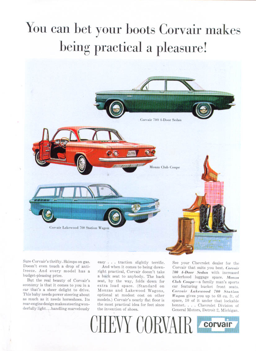Image for You can bet your boots Corvair ad 1961
