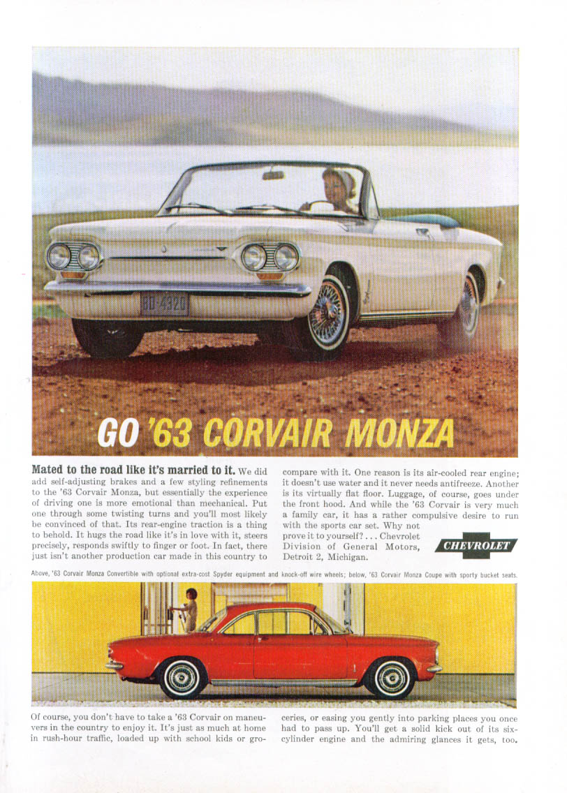 Mated to the road like it's married Corvair ad 1963
