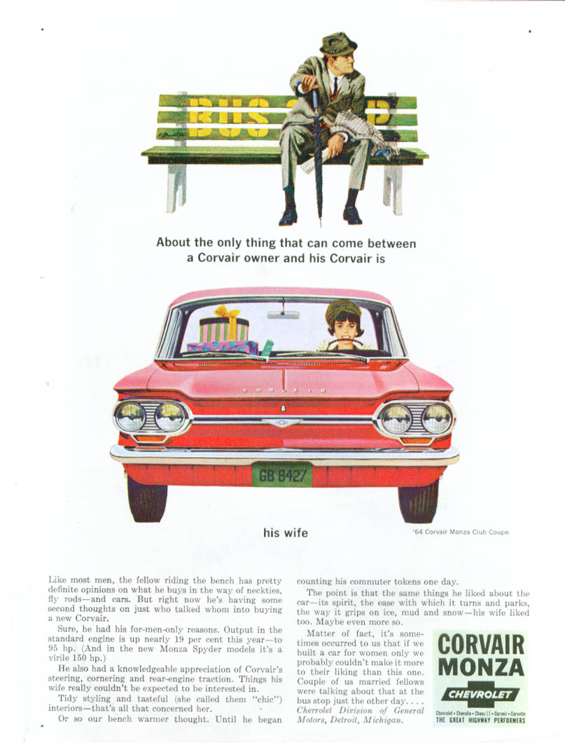Only thing that can come between owner and Corvair is his wife ad 1964