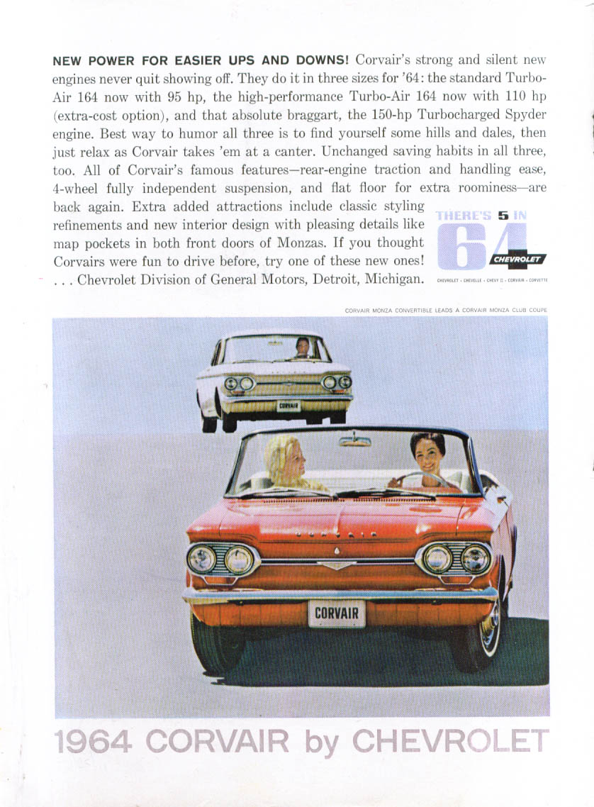 New power for easier ups & downs Corvair ad 1964