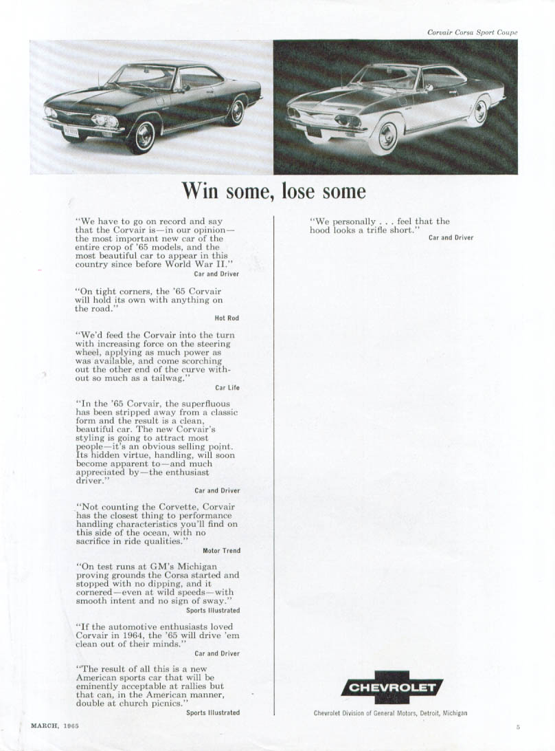Image for Win some, lose some . . . Corvair ad 1965