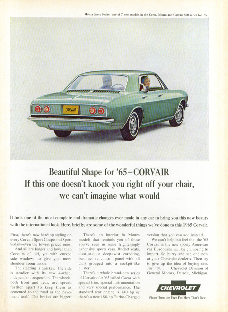 Beautiful shape for '65 Corvair ad 1965