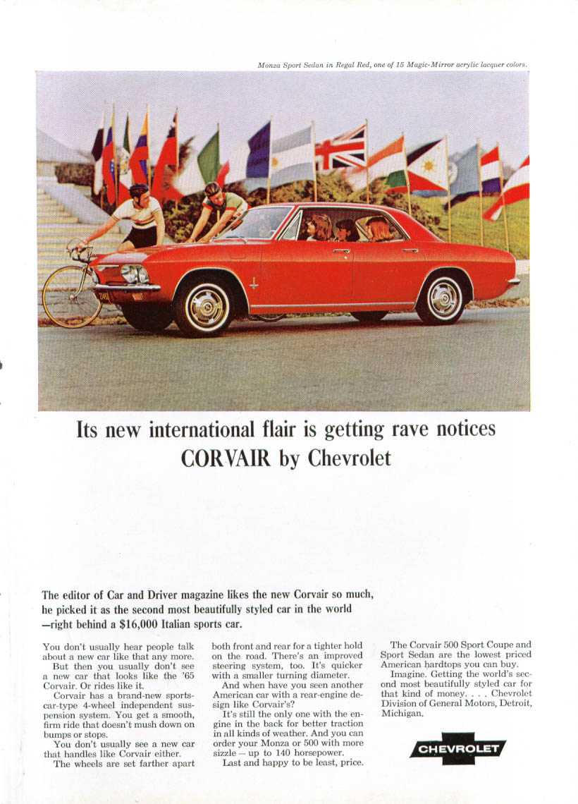 New international flair rave notices Corvair ad 1965