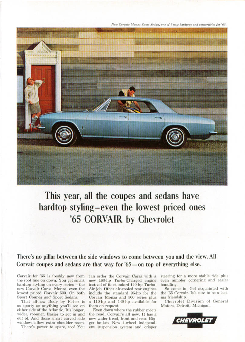 All coupes & sedans have hardtop style Corvair ad 1965