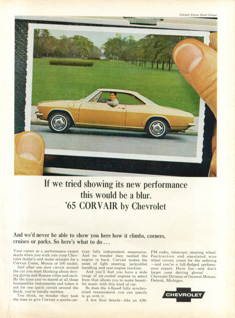 If we tried showing performance Corvair ad 1965