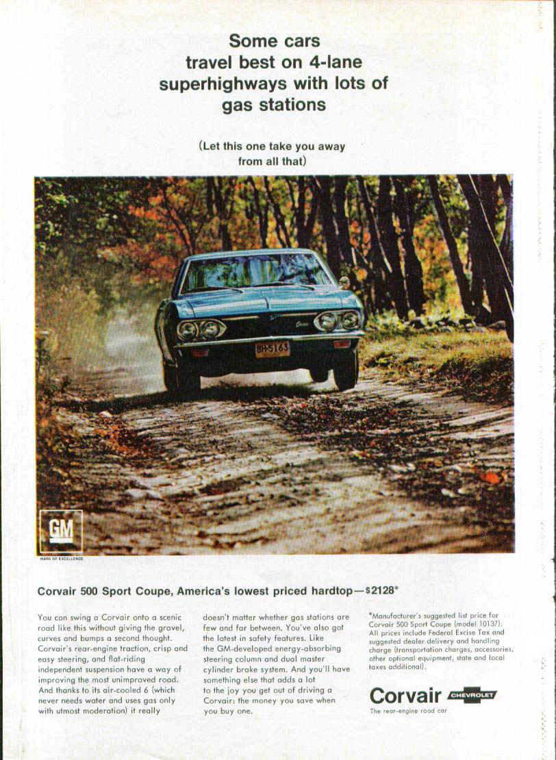 Image for Some cars travel best on 4-lane Corvair ad 1967