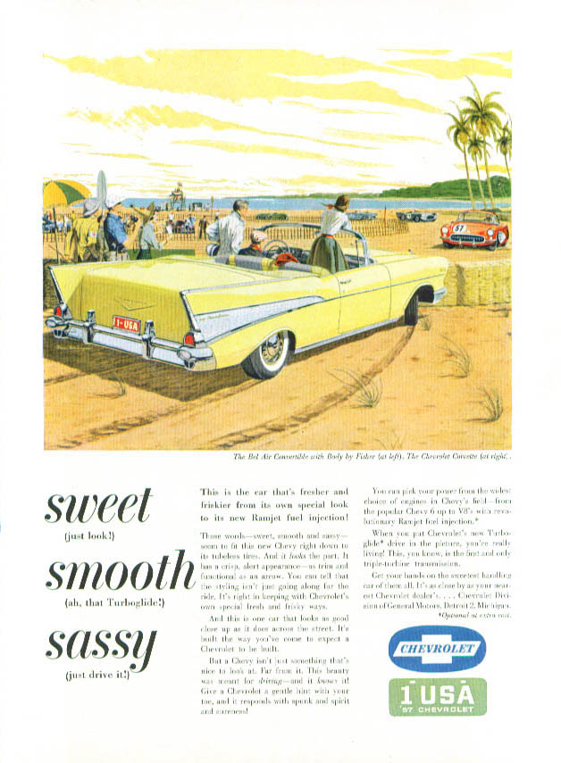 Image for Sweet Smooth Sassy 1957 Chevrolet & Corvette ad