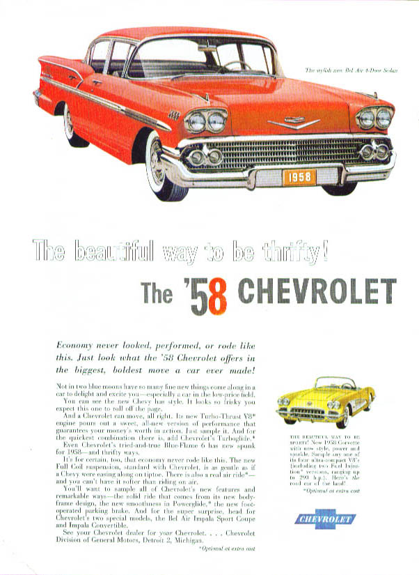 Image for Beautiful way to be thrifty 1958 Bel Air & Corvette ad