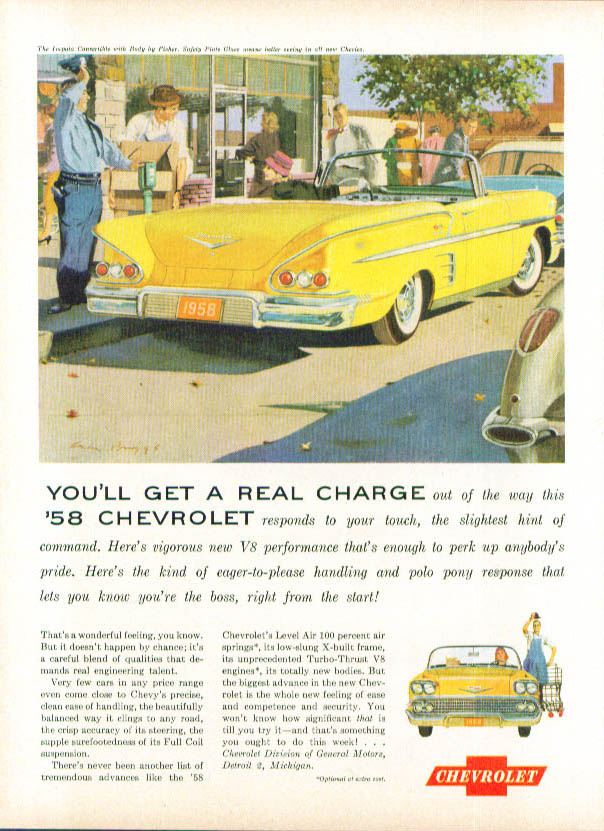 Image for Get a Real Charge 1958 Impala & Corvette ad