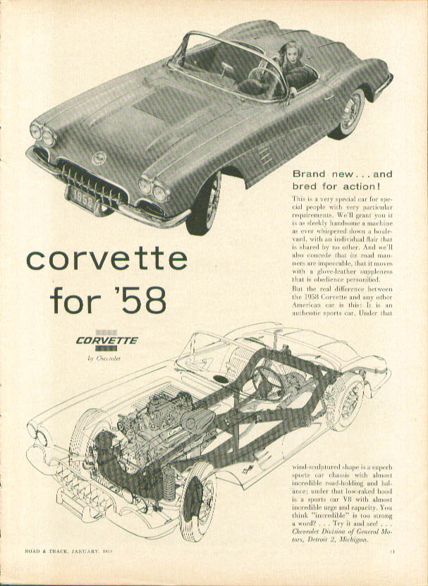 Image for Brand new & bred for action! 1958 Corvette ad