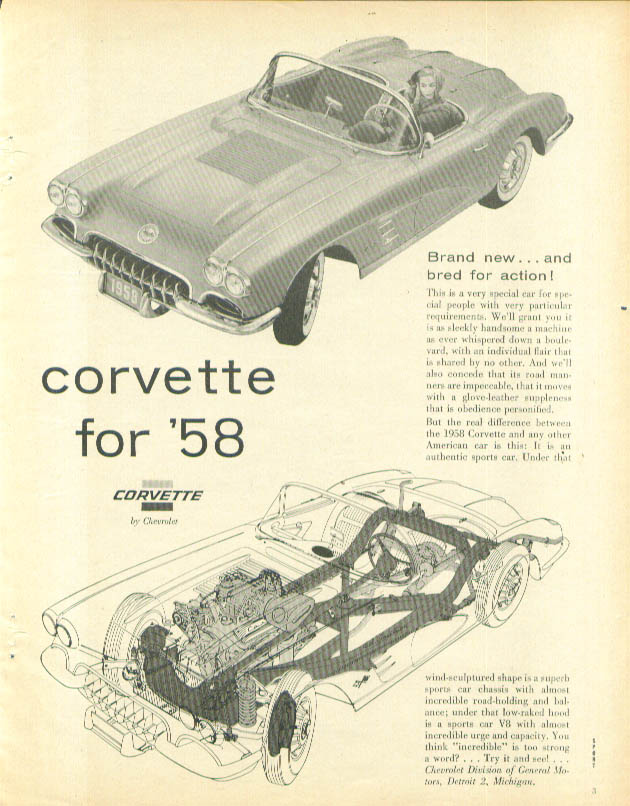 Image for Brand new and bred for action! Corvette ad 1958