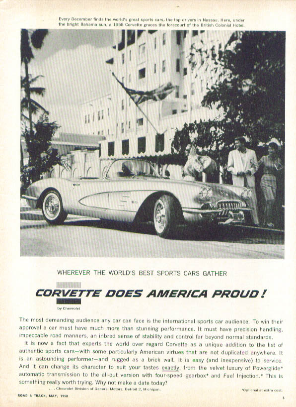 Image for Corvette does America proud Nassau ad 1958