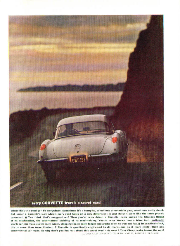 Image for Every Corvette travels a secret road 1960 ad