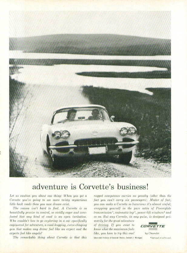 Adventure is Corvette's business 1960 ad