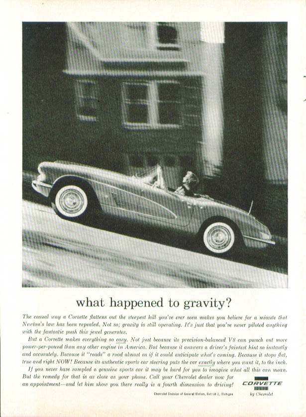 Image for What happened to gravity? 1960 Corvette ad