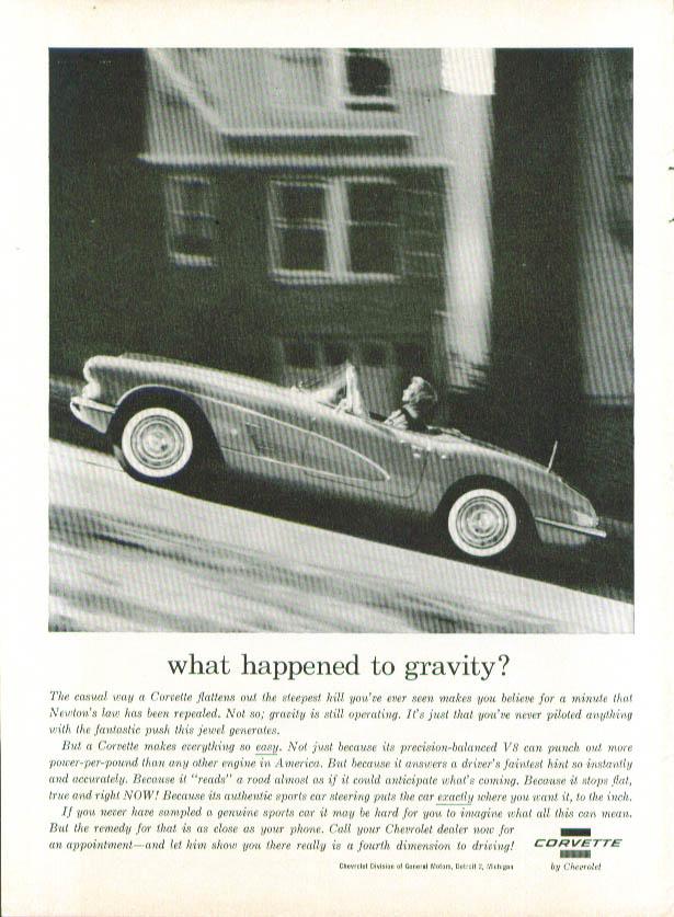 What happened to gravity? 1960 Corvette ad