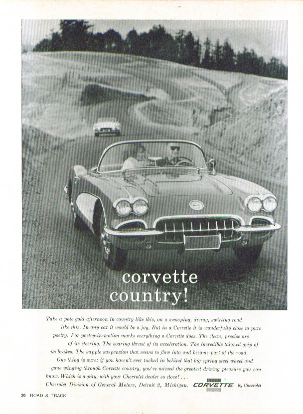 Image for Take a pale gold afternoon Corvette Country! Ad 1960