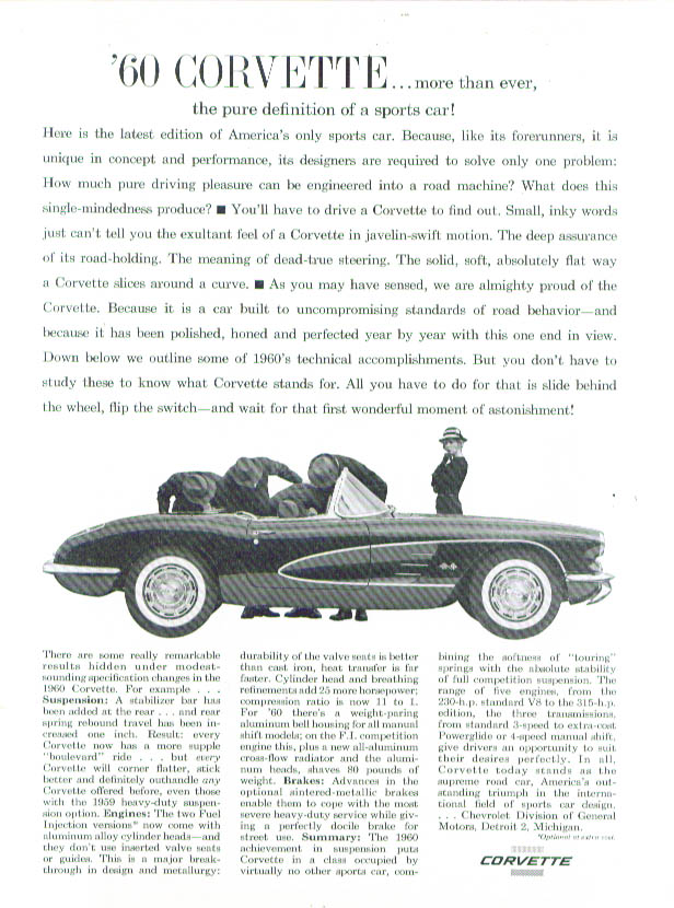 Image for The pure definition of a sports car 1960 Corvette ad