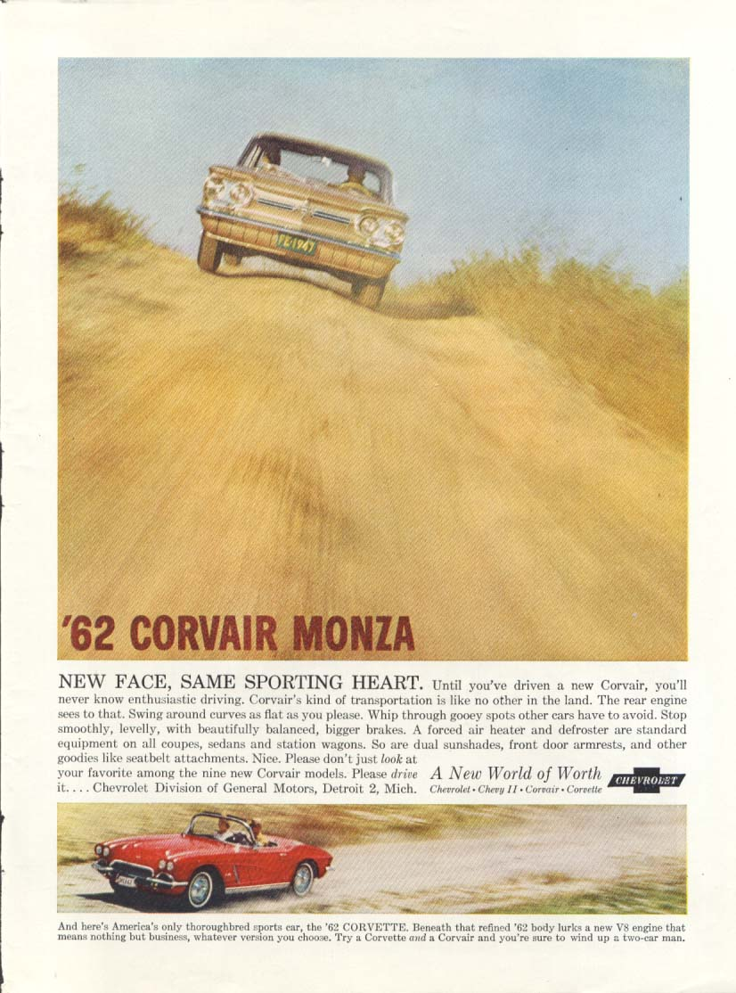 Image for New Face Same Sporting Heart Corvair & Corvette ad 1962 US News