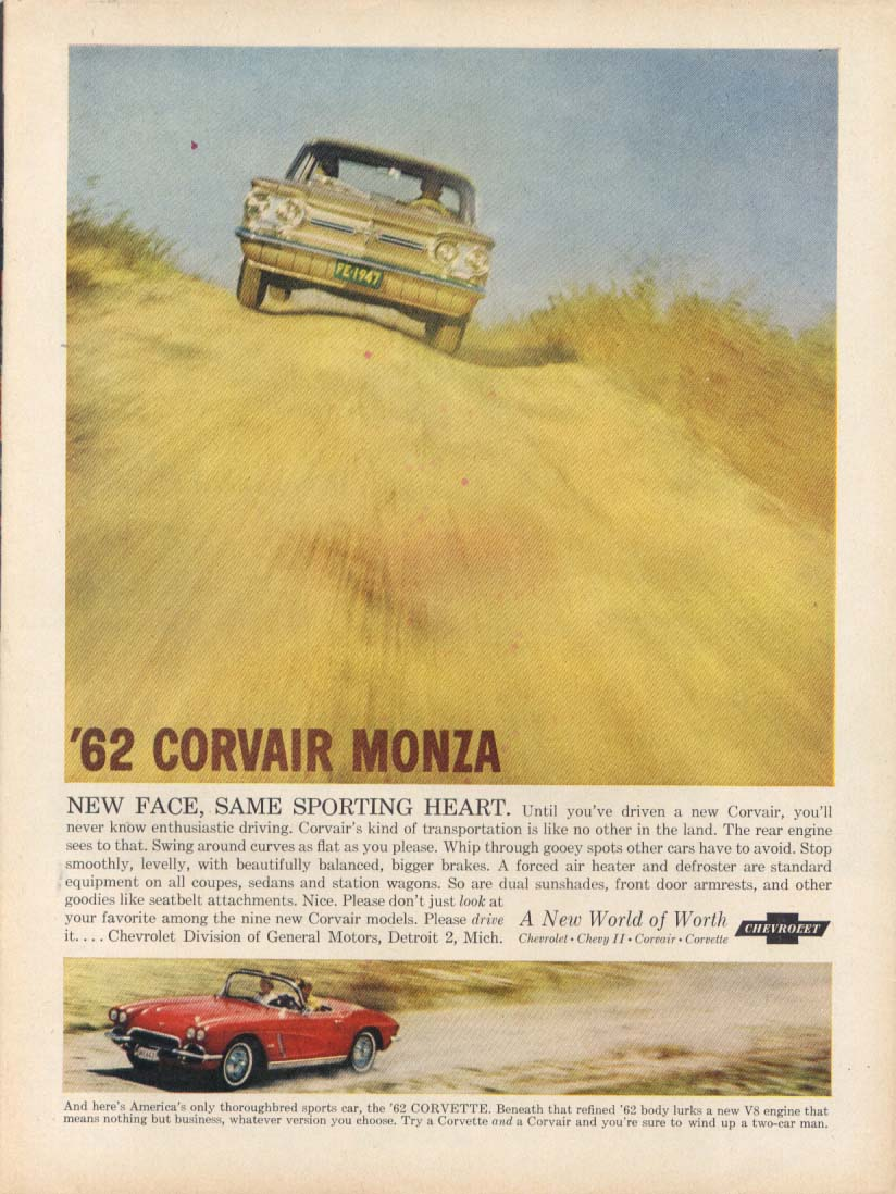 Image for New Face Same Sporting Heart Corvair & Corvette ad 1962 Time