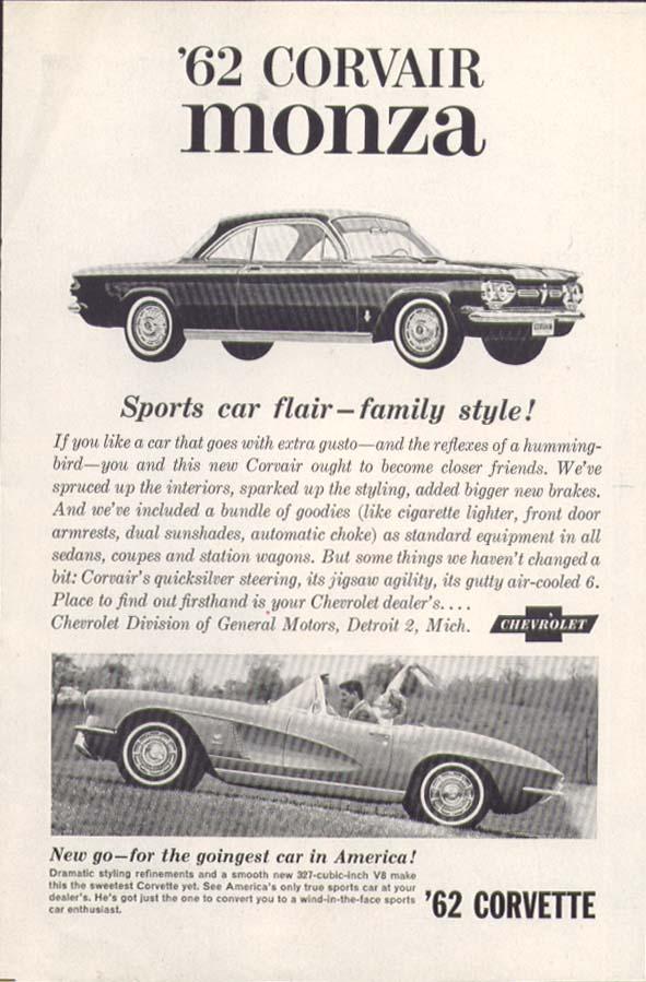 Corvair Monza Sports car flair Corvette ad 1962